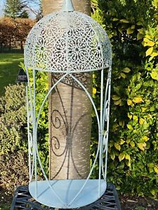 Large Hanging Metal Garden Blue Wall Planter with Shelf By Ascalon - 90cm X 40cm