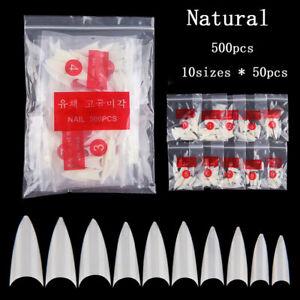 500Pcs False Nail Tips With 10 Size Nail Tips Stiletto French Acrylic False Nail