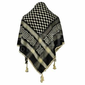 Shemagh Arab Head Scarf Wrap Arafat Keffiyeh Yashmagh Black +Fringes