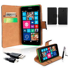 Genuine Real Leather Stand Wallet Flip Case Cover For Nokia Lumia 630 635 636
