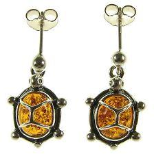 Baltic Amber Sterling Silver 925 Stud Drop Dangling Tortoise Earrings Jewellery