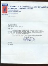 1972 ABA Basketball Players Association Letters & Envelope 3 Pieces