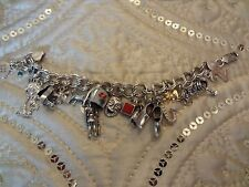 VINTAGE STERLING SILVER CHARM BRACELET WITH 17 CHARMS--925--VERY NICE