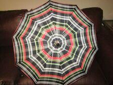 Vintage Black Red Silver Plaid Umbrella Parasol Lucite Handle