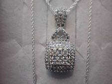 "Princess & Round Cut Simulated Diamond Pendant w/18"" Chain, 925 Sterling-2.20CTW"
