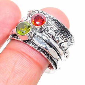 Mozambique Garnet, Peridot Gemstone 925 Sterling Silver Jewelry Ring Size 7 f542