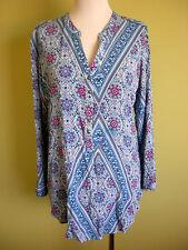 Ladies Womens Casual Long Sleeve Blue Print Shirt Blouse Top Y Neck Rivers Sz 14