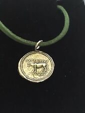 """Denarius Of Julius Caesar Coin WC75 English Pewter On a 18"""" Green Cord Necklace"""