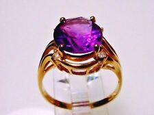 A Spectacular Genuine Amethyst Solid 14-kt Gold Ring, Clearance! (#1620)