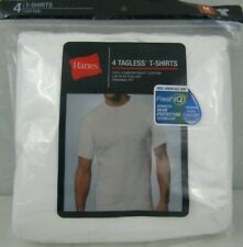 Hanes Tagless T-Shirts Fresh IQ Crew Neck 4 Pack Men's Medium White Cotton