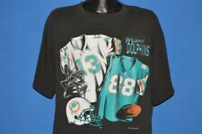 vtg 90s MIAMI DOLPHINS DAN MARINO BRIAN KINCHEN EMBROIDERED UNIFORM t-shirt L XL