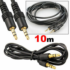 10M 3.5mm AUX Jack Audio Cable Headphone DVD MP3 iPod TV Male To Male Cord