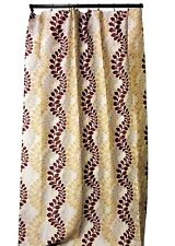 Curtain Panels Drapery Window Treatment Jacquard Maroon Yellow Gray Set of Two