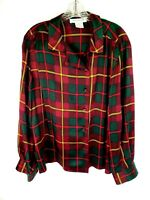 Jones New York Size 12 Red Gold Green Plaid Vintage Blouse