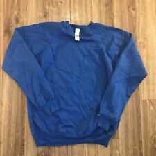 Vintage Hanes Blue Cotton Blend Made USA 80s Blank Sweatshirt Sz Large NWT NOS