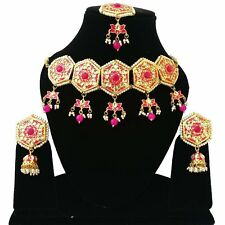 Indian Meena Kundan Jewelry Gold Plated Bollywood Necklace Earrings Tikka Set 2-