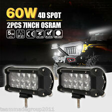 2× 7 Inch 60W Osram 4D+ Lens LED Work Spot Light Offroad 4WD Truck SUV Bar 120W