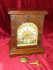 Quality German Lenzkirch Bur Walnut Ting Tang Bracket Clock
