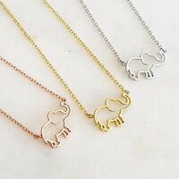 Fashion Women Lovely Tiny Hollow Elephant Pendant Chain Necklace Jewelry Gift