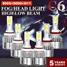 6PCS Combo 9005 + H11 + 9006 3900W 585000LM LED Headlight Kit Hi Low Bulbs 6000K