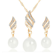 Fashion Rhinestone Pearl Jewelry Sets Spiral Crystal Necklace Stud Earrings Suit