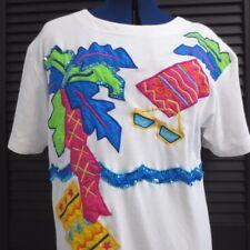 Vintage 90's T Shirt Neon Colorful Womens Blouse Size Medium Memphis Style teddi