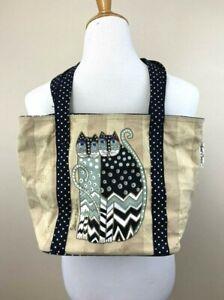 Laurel Burch Tan Stripe Black Polka Dot Kitty Cat Small Tote Bag Canvas Purse