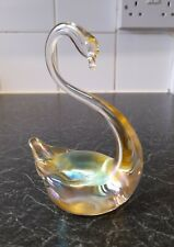 More details for vintage heron iridescent art glass swan figurine in gold