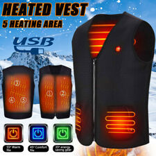 Electric USB Heated Vest Jacket Coat Winter Warm Up Cloth Body Warmer Unisex Lot