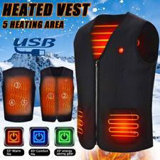 Electric USB Heated Vest Jacket Coat Winter Warm Up Cloth Body Warmer Unisex Lot
