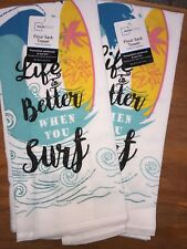 2 Pack Flour Sack  Kitchen Hand Towel Set- Life is Better When You Surf 2HT0021
