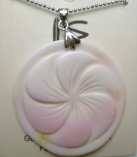"Genuine Conch Shell Necklace w/ 1.2mm 18kgp Metal Ball Chain 18"" Long # 50076-40"