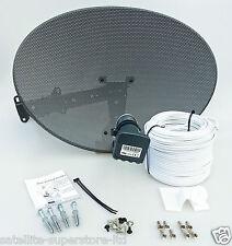 Sky / Sky HD / Freesat HD Satellite Dish & Full 40m Twin White Install Kit +MORE
