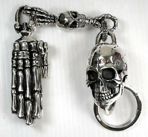 BIG SKULL 925 STERLING SILVER KEYCHAIN WALLET BELT HOLDER MENS BIKER NEW HEAVY