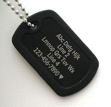 PERSONALIZED Dog Tag Necklace VERTICAL Wording - BLACK with Black Silencer