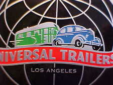 Universal Travel Trailer Data Logo Plate Los Angles 1930s - 1940s Acid Etched