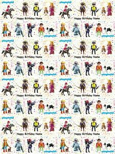 Playmobil Personalised Birthday Gift Wrapping Paper 3 Designs ADD NAME