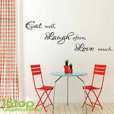 EAT WELL LAUGH OFTEN WALL STICKER QUOTE - HOME KITCHEN WALL ART DECAL X82