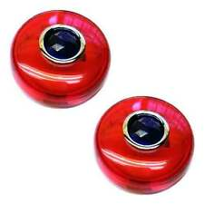 2 Red Snap In Bullet Turn Signal Lenses for 02-16 Harley - Real Glass Blue Dot