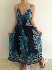 Women's Sleeveless Boho Blue Crossover Summer Maxi Casual Dress Size 8,10,12 NEW