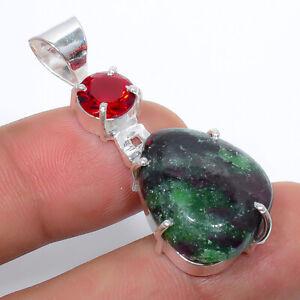 "Ruby Zoisite & Garnet Gemstone 925 Sterling Silver Jewelry Pendant 1.76"" S197"