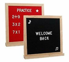 Felt Letter Board, Double Sided | 10×10 Wood Frame (340 Characters) Red/Black
