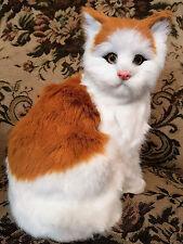 Katze Plüsch Figur Deko orange / weiß Fell / Tierfigur Dekofigur wie echt