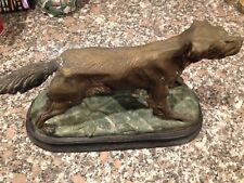 LARGE METAL POINTER DOG STATUE , BRONZE PATINA –NICE DETAIL