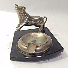 vtg Cast Metal Longhorn Bull Ashtray Figural Animal Cow Silvertone Plastic Base
