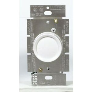 Lutron Electronics Single Pole Push Rotary Dimmer, 600W, White/Ivory