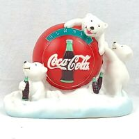 Coca-Cola Polar Bear Coins Piggy Bank 1997 Vintage Hard Plastic With Extras