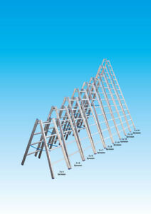 Alu-Sprossen Stehleiter 2. Wahl - Sprossenanzahl: 2 x 8, Länge: ca. 2,40 m