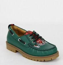 New Gucci Boy Toddler Green Leather Loafer w/Red Animal Print 455436 3162