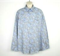 Roper Mens Paisley Snap Button Up Shirt Size 2xl Western Long Sleeve Blue